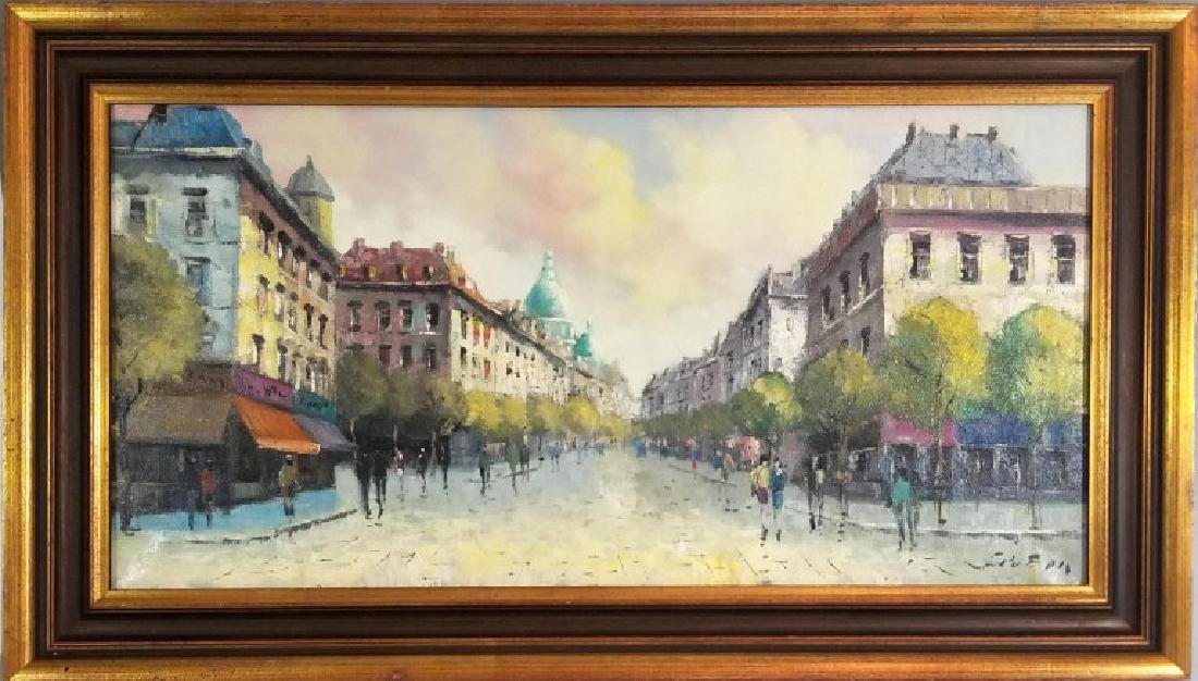SIGNED FRENCH OIL ON CANVAS PAINTING MONTMARTRE
