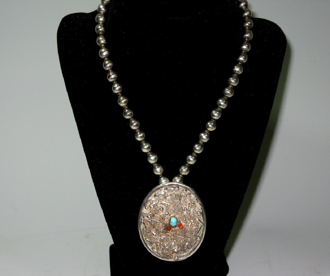 METALES TAXCO STERLING BEAD NECKLACE & PENDANT