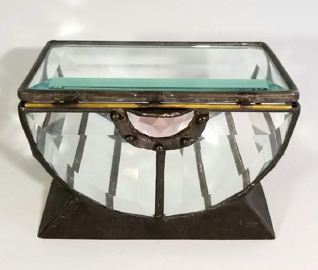 ANTIQUE BEVELLED GLASS & MIRROR JEWEL BOX