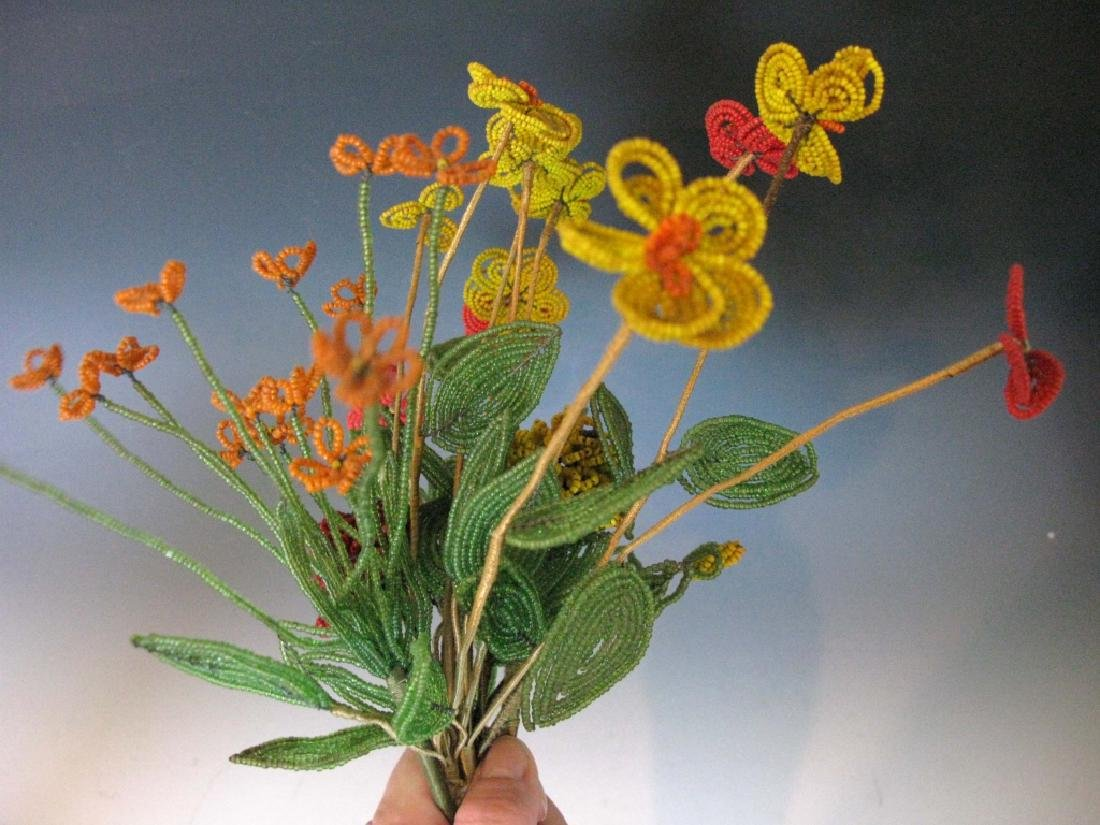 BOUQUET OF VICTORIAN GLASS BEAD FLOWERS