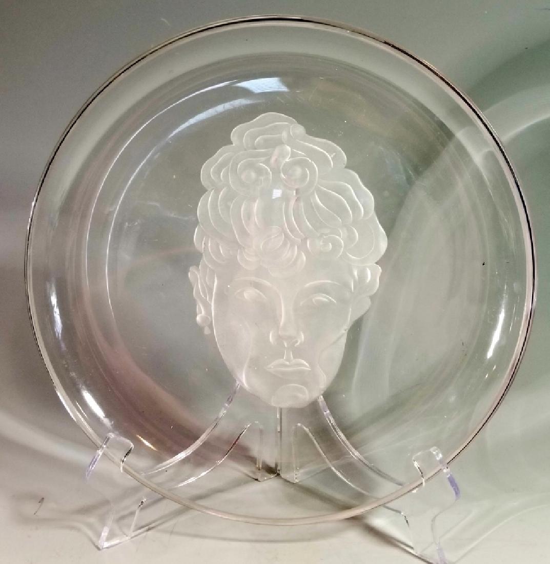 ART DECO STYLE ART GLASS PORTRAIT CHARGER