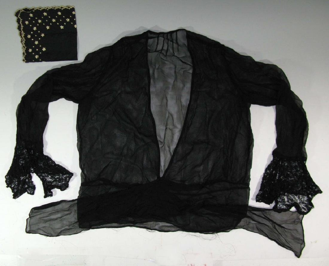 VICTORIAN BLACK CREPE & LACE JACKET & HANDKERCHIEF