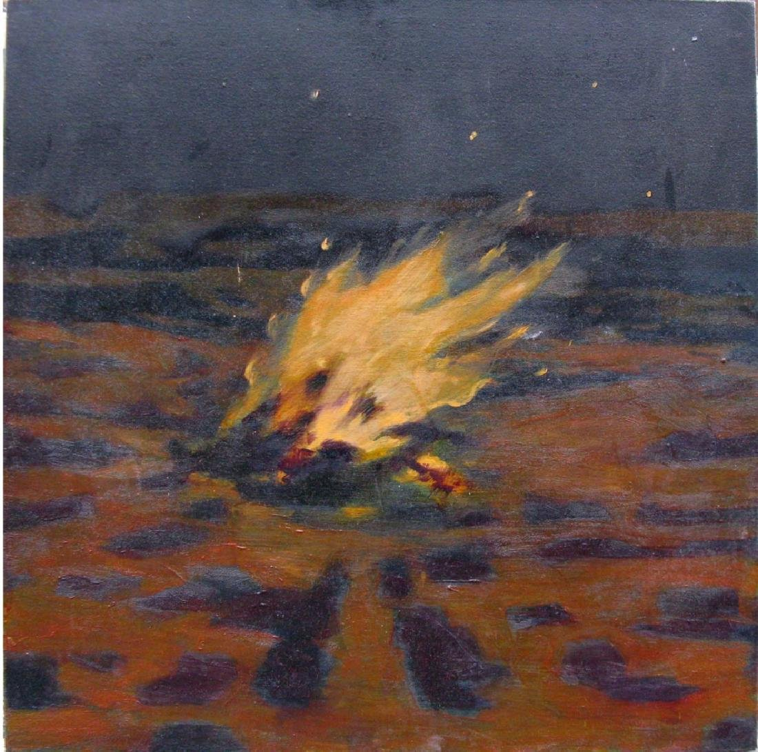 TOM COSTA OIL ON CANVAS BONFIRE ABSTRACT PAINTING