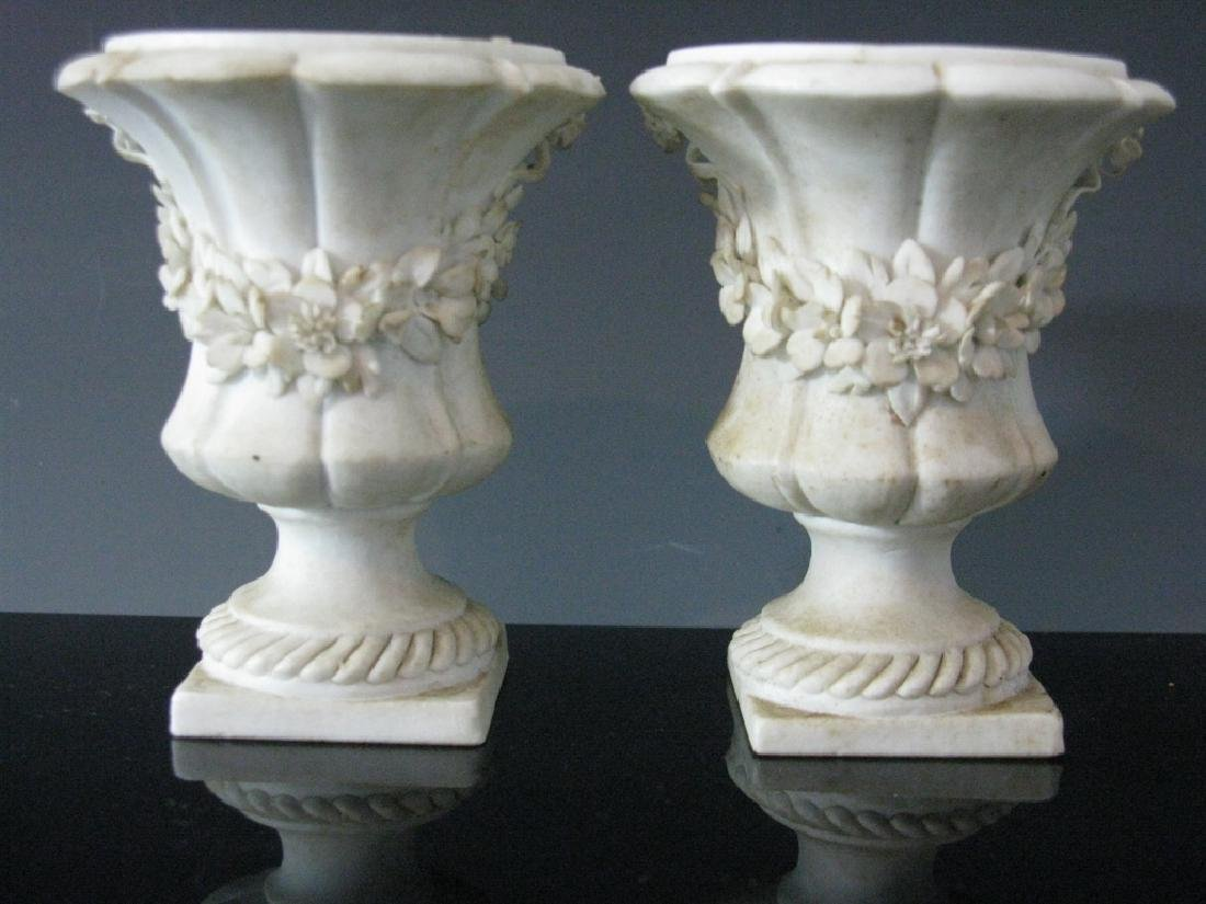 PAIR FRENCH SEVRES STYLE PARIAN URNS / VASES