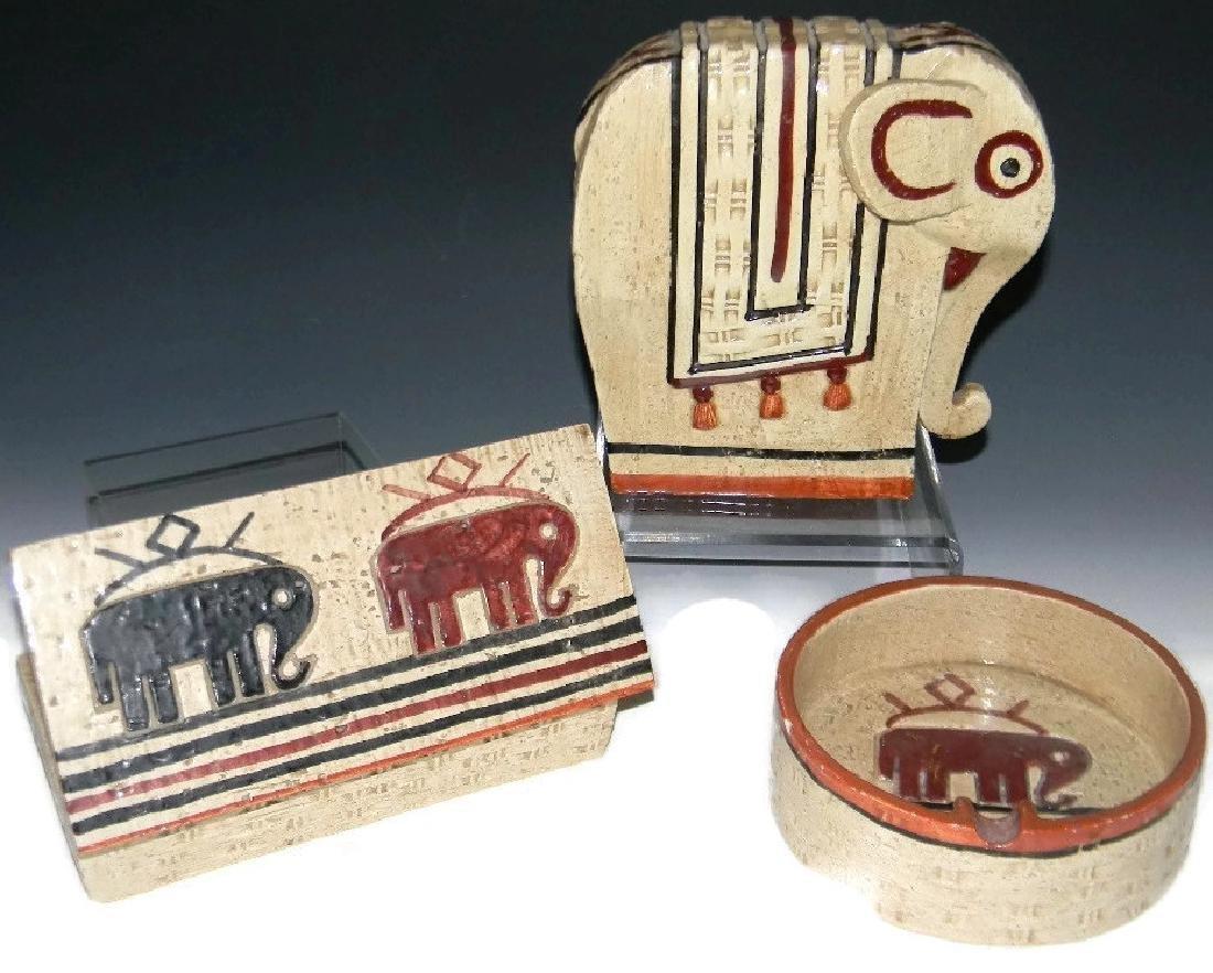 BITOSSI ITALIAN ELEPHANT BOX, ASH BOWL & SCULPTURE