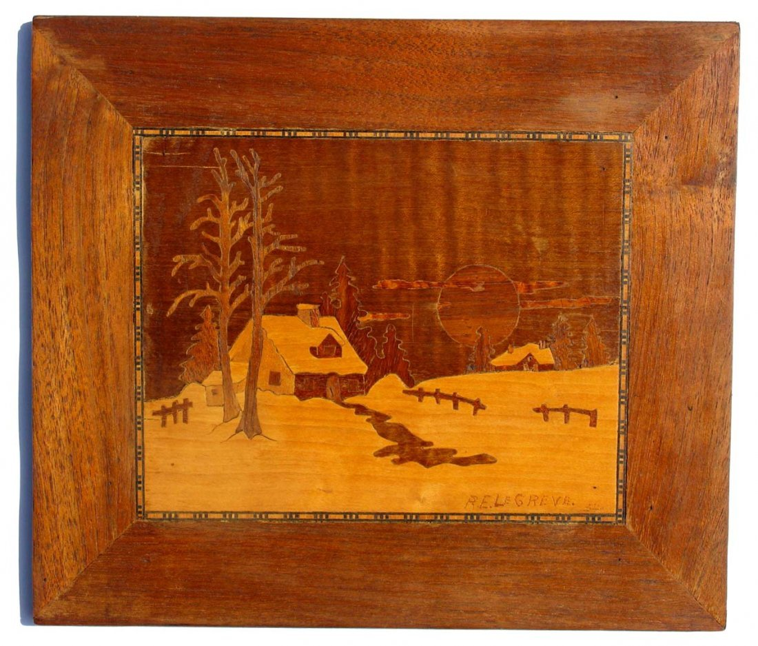 2: Vintage 1954 Inlaid Marquetry Wood Panel R. E. LeGre