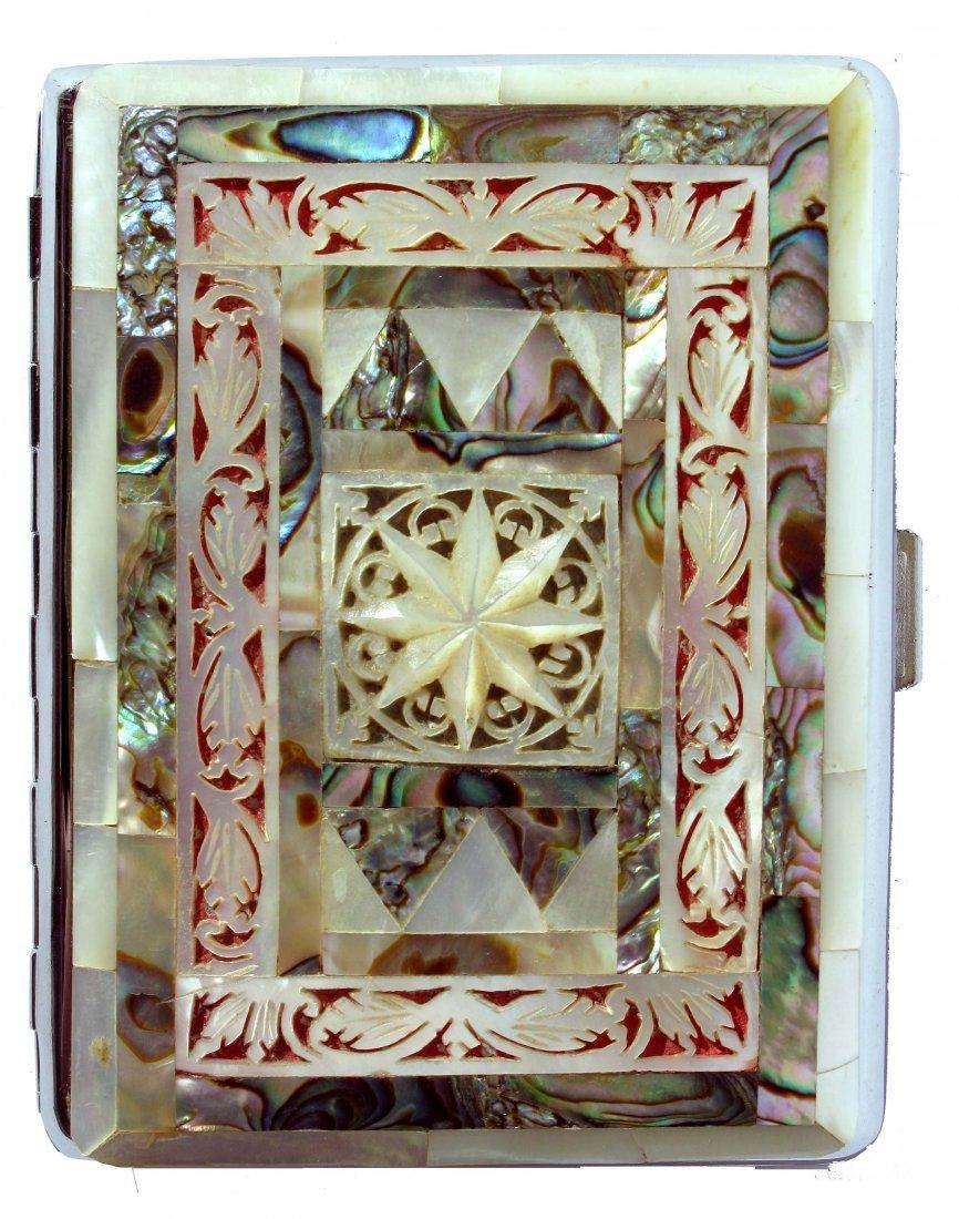 17: Sylva Chrome, England Cigarette Case w/Mother Pearl