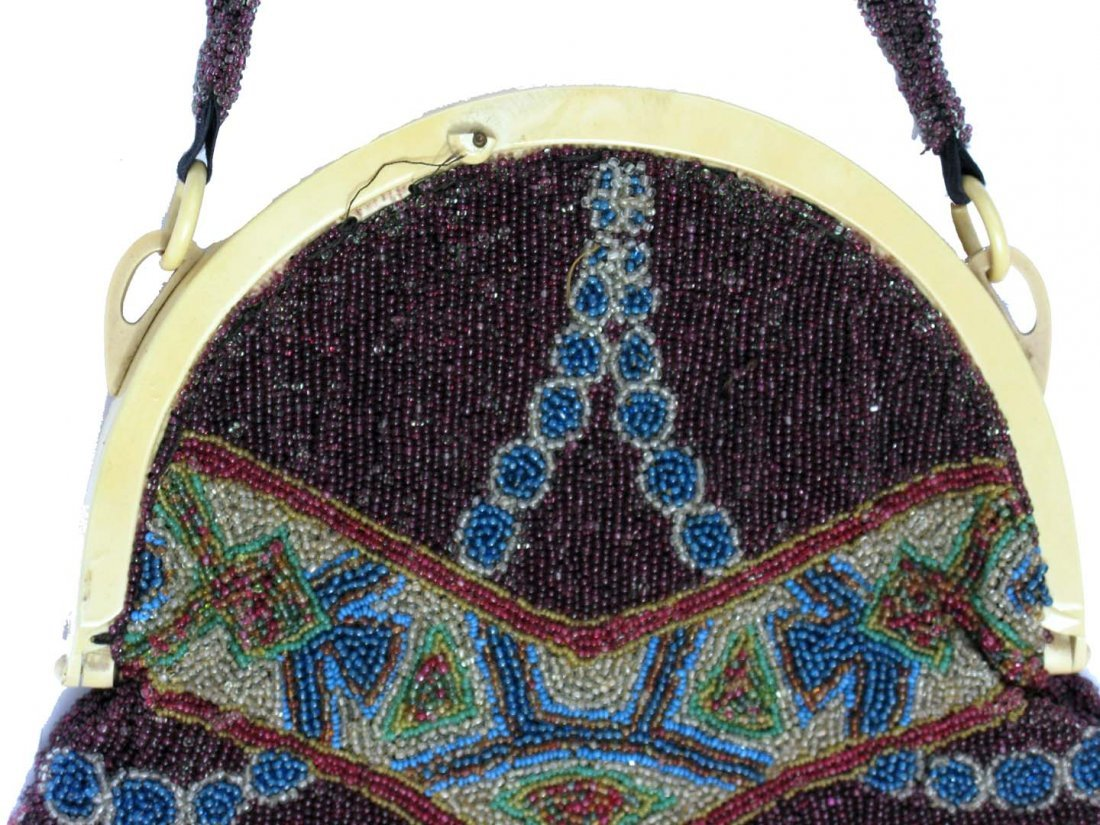 5: Art Deco, hand beaded bag with Silk Lining