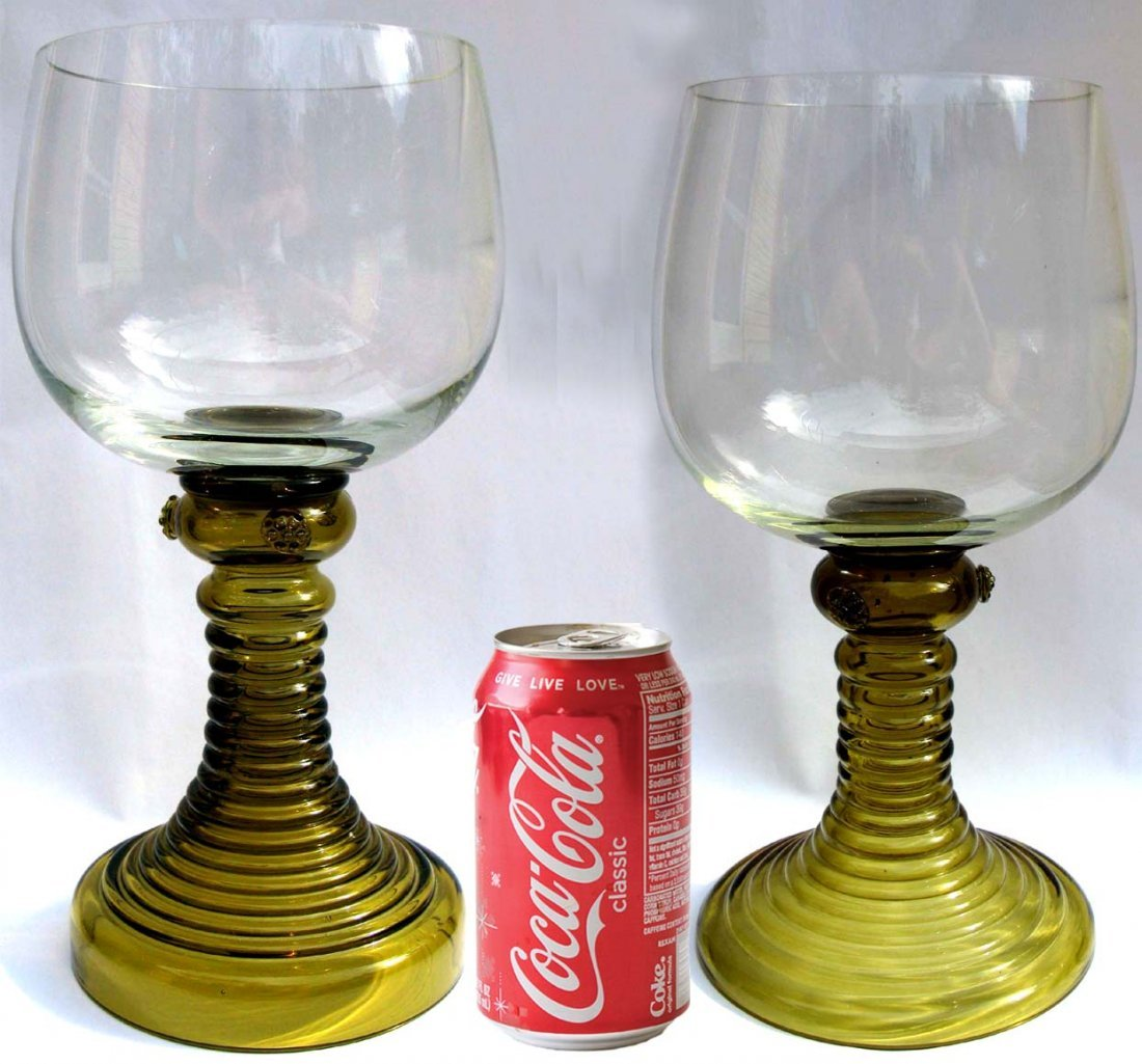 24: Pair of Colossal Vintage German Glass Roemers