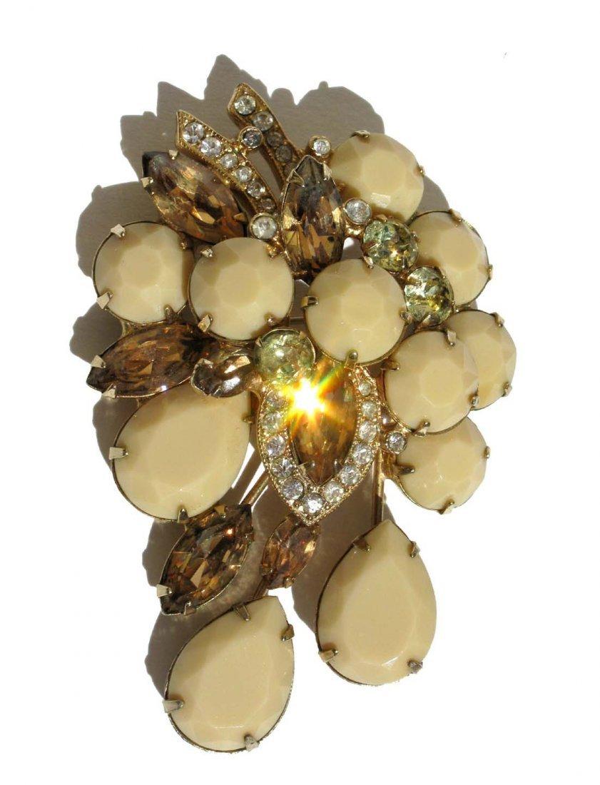 7: Eisenberg Pin Brooch Cream and Amber Rhinestones