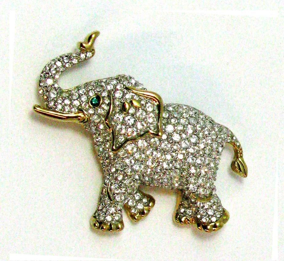 9: Swarovski Elephant Brooch Pin Pave Crystals