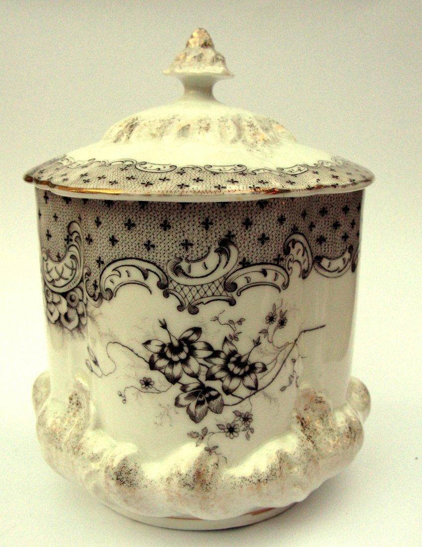 15: Porcelain Victorian Rococo Revival Biscuit Barrel