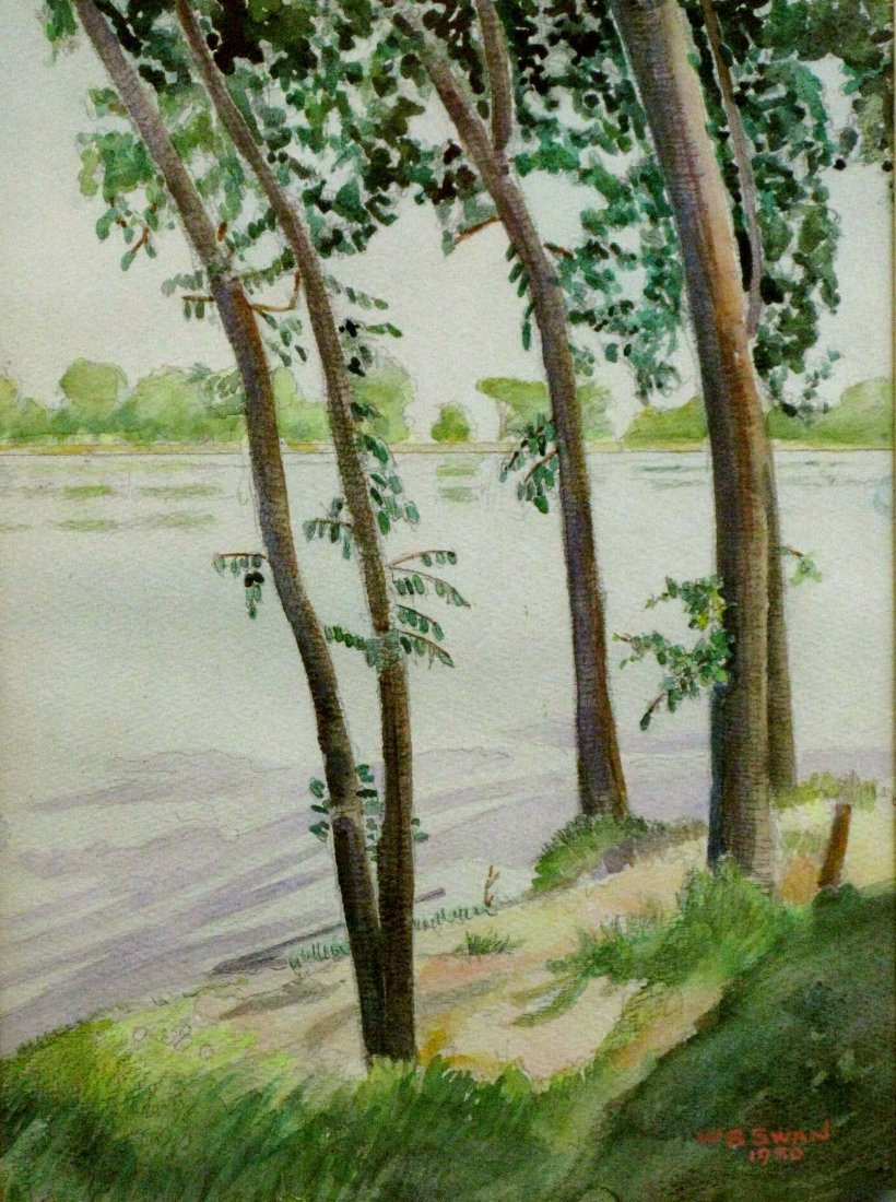 19: Walter B. Swan 1950 Watercolor Mississippi River