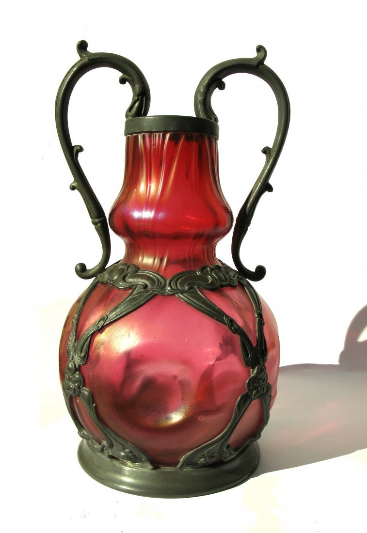 31: Loetz Iridescent Art Glass Vase Riceszinn Pewter