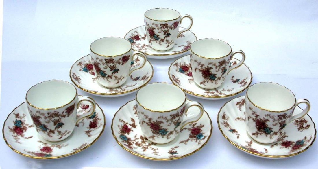 14: 6 Minton Bone China Tea Cups & Saucers Ancestral
