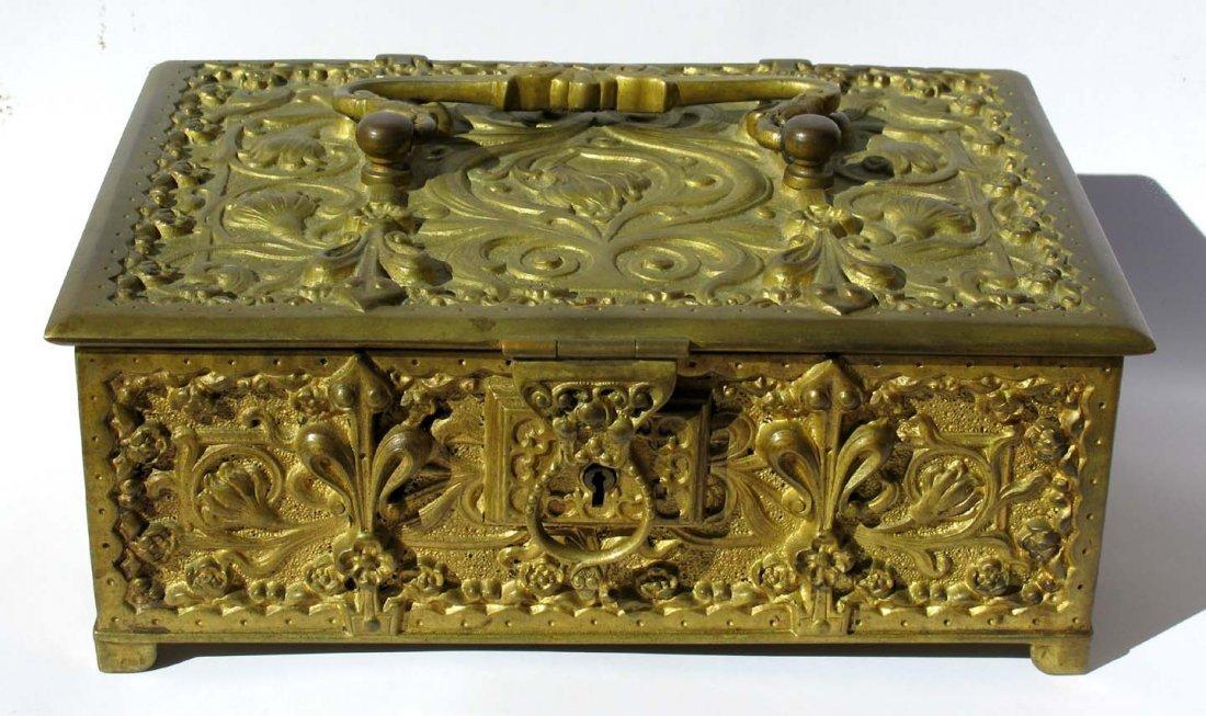 26: German Art Nouveau Gilt Ormolu Bronze Casket