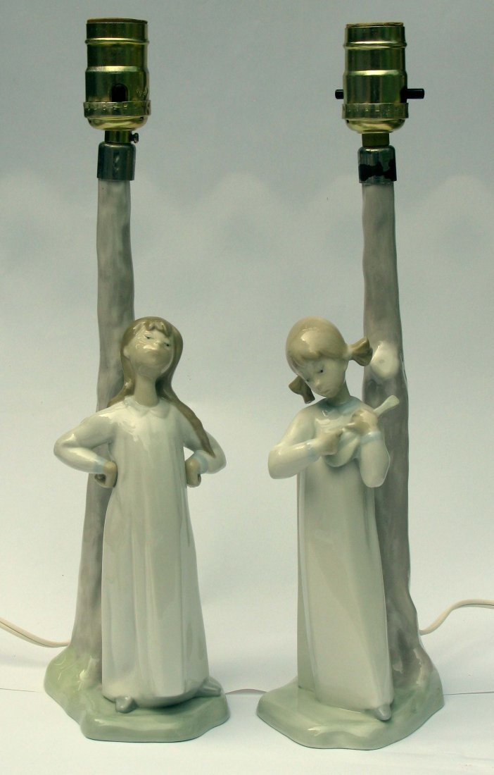 50: Pair of Nao by Lladro Porcelain Lamps