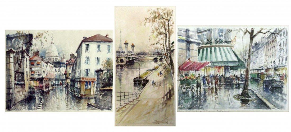 23: Lot of Three Signed Parisian Watercolor Paintings