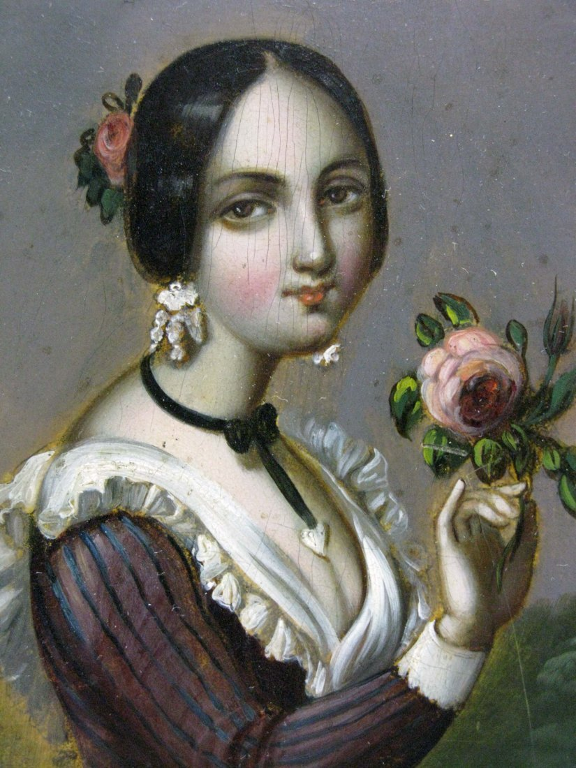 19th Century Oil on Tin Painting of Girl with Rose