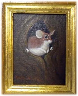 Amos Shontz Double-Sided Oil Painting of a Mouse