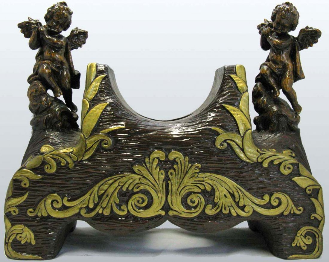 Carved Wood Clock Support Stand with Cherubs