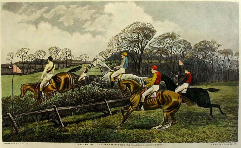 1886 Steeplechase Horse Aquatint Engraving by Stock