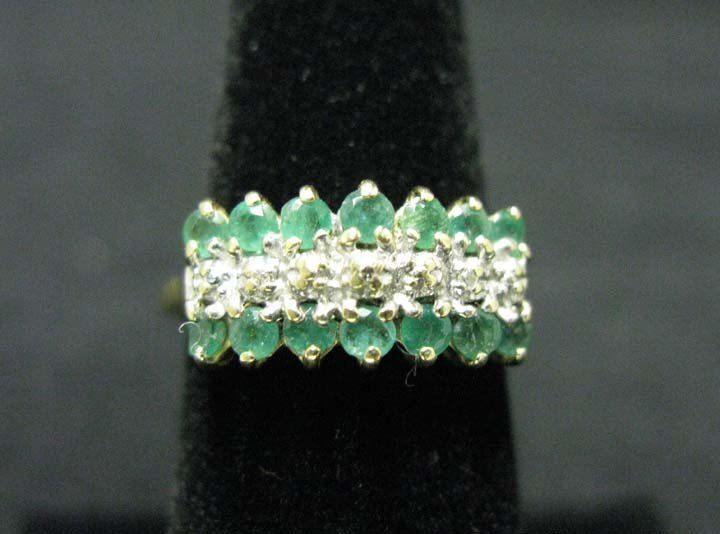 Ladies 14k Gold Ring with Emeralds & Diamonds