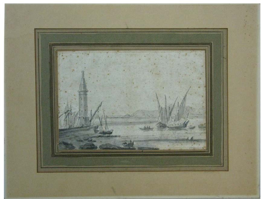 Ink Drawing on Laid Paper by O'Fanne Harbor Scene
