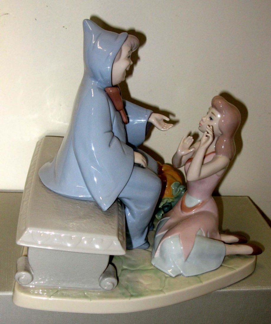 7555 Lladro Porcelain Cinderella and Fairy Godmother