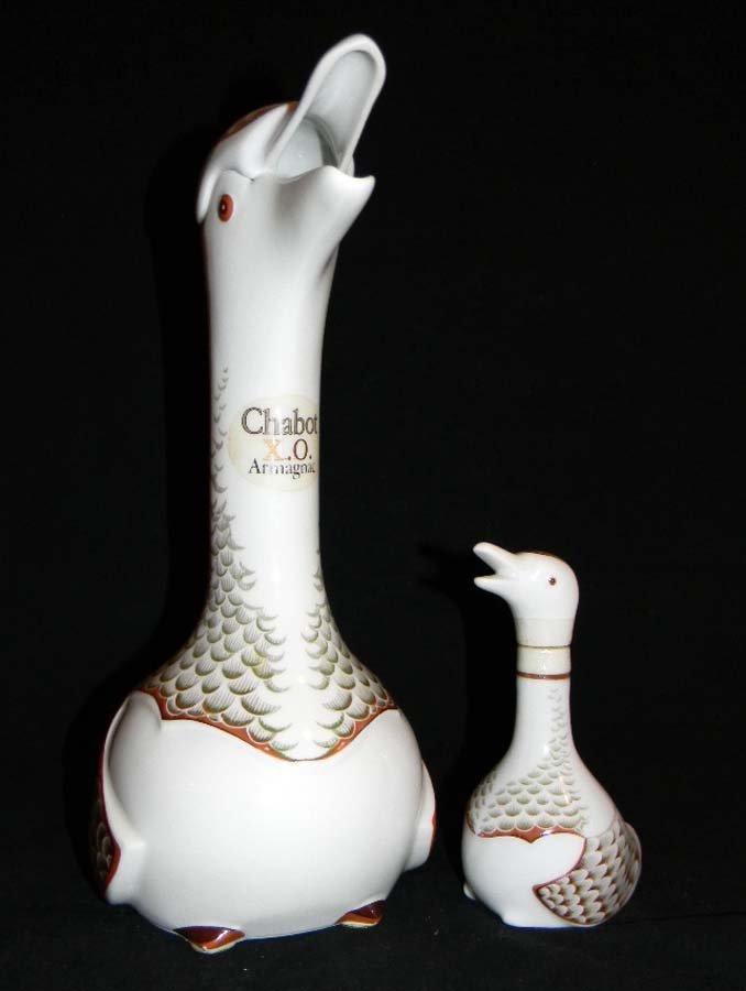 Limoges Chabot Armagnac Porcelain Duck Decanters