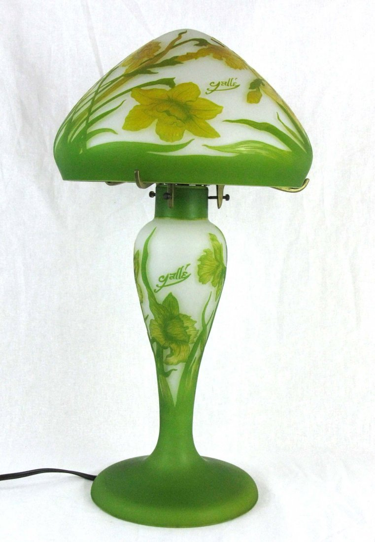 Vintage Galle Cameo Glass Lamp with Glass Shade