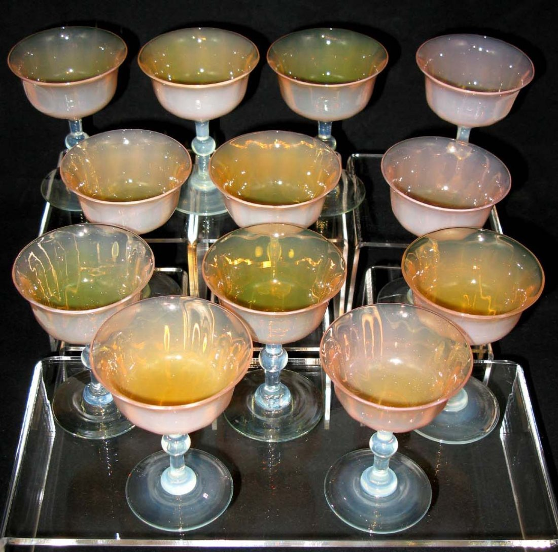 12 Antique Opalescent Champagne Sorbet Glasses