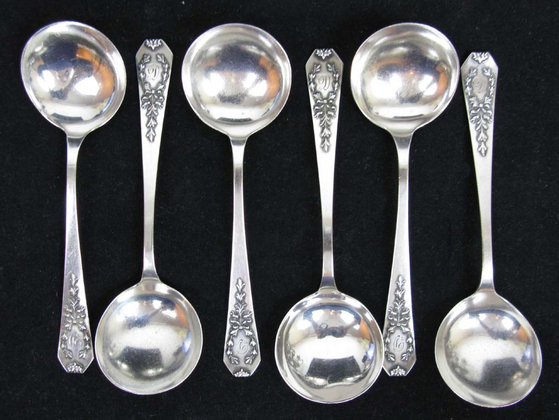 Lot 6 Sterling Whiting Bouillon Spoons Madame Junel