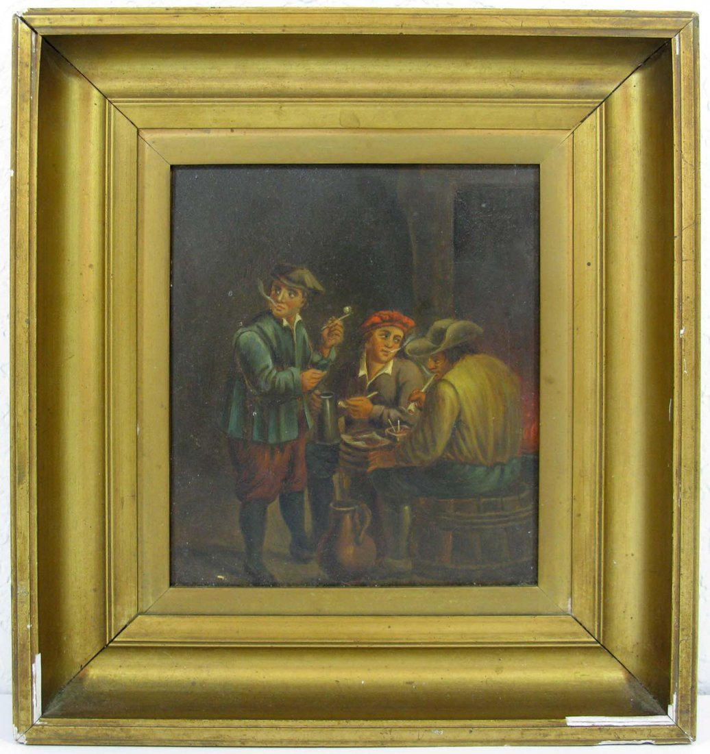 Antique British Oil on Copper Tavern Scene