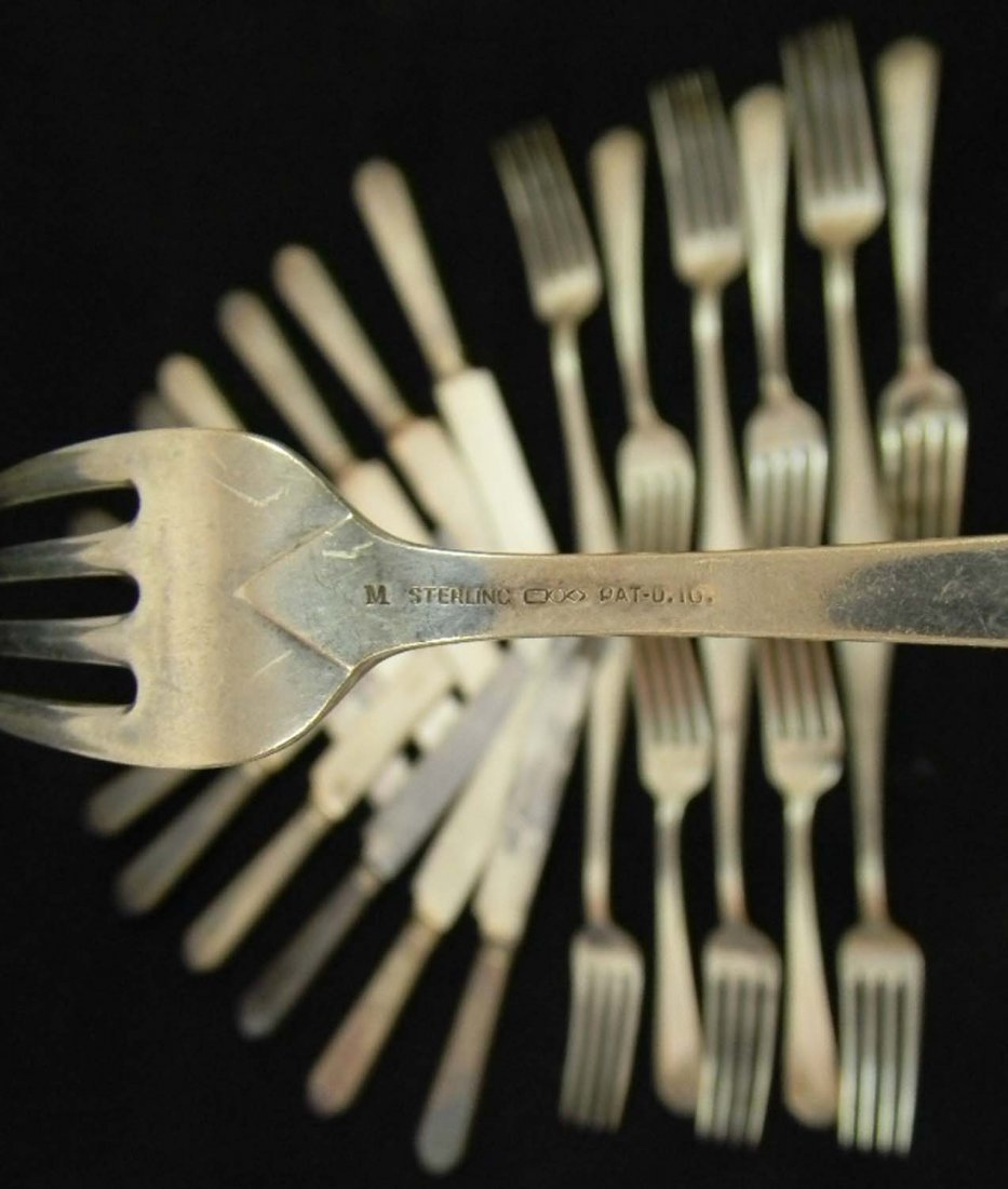24 pcs Sterling Silver Dominick & Haff Forks Knives