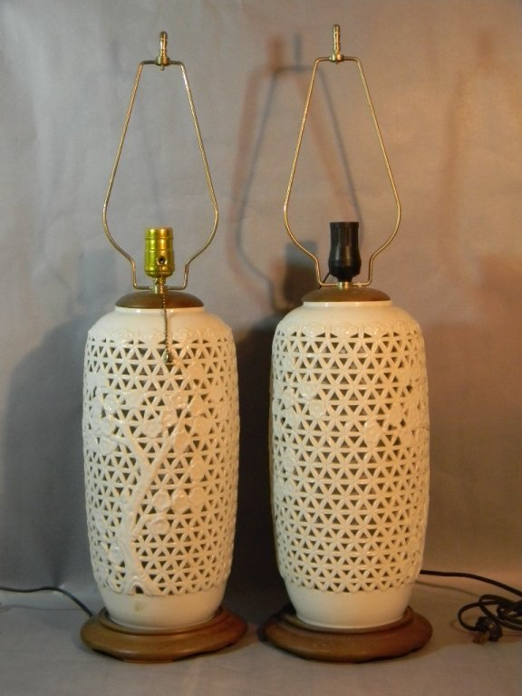 Pair Seyei China Japan Reticulated Porcelain Lamps
