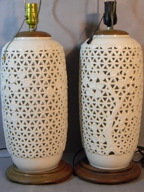 Pair Seyei China Japan Reticulated Porcelain Lamps - 4