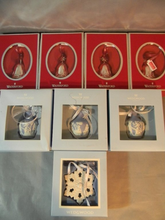 4 Waterford Lismore Bells & 4 Wedgwood Ornaments