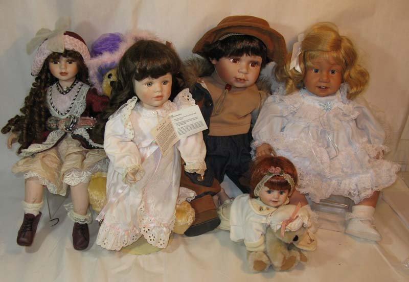 6 Porcelain Dolls Cathay, Geppeddo, Danbury Mint