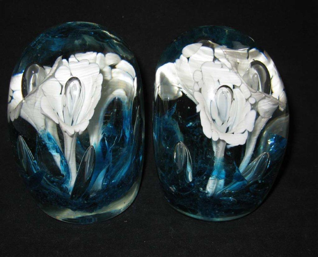 2 St. Clair Art Glass Paperweight Bookends
