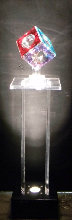 Cube Lighted Acrylic Sculpture Pedestal by Pease