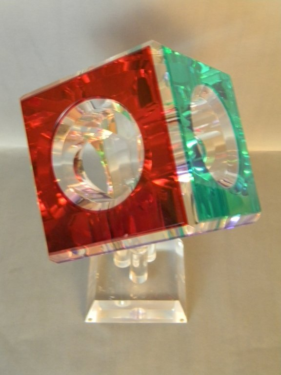 Cube Lighted Acrylic Sculpture Pedestal by Pease - 3