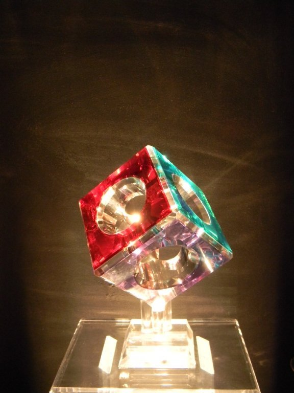 Cube Lighted Acrylic Sculpture Pedestal by Pease - 4