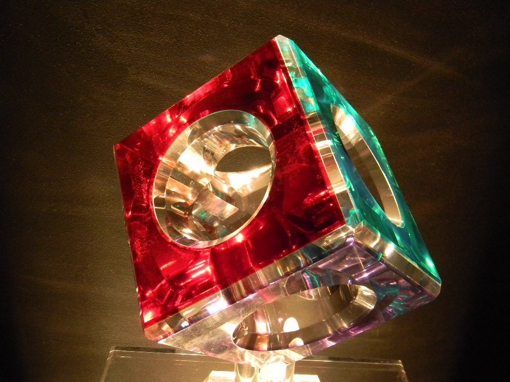Cube Lighted Acrylic Sculpture Pedestal by Pease - 5
