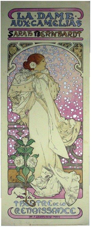 Alphonse Mucha Lithograph Dame Aux Camelias