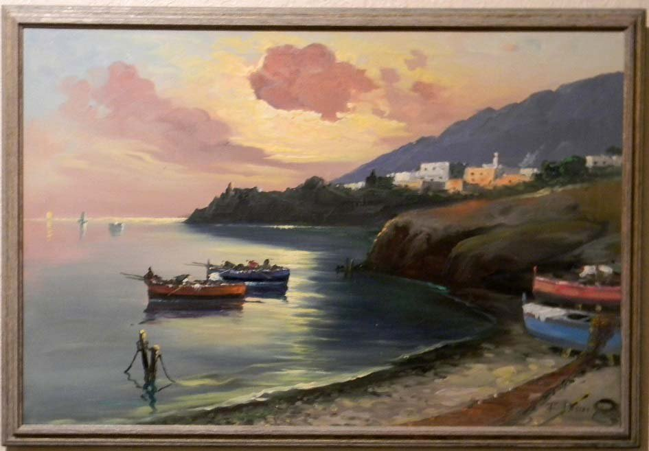 Pasini Boats at Shore Italian Oil on Canvas