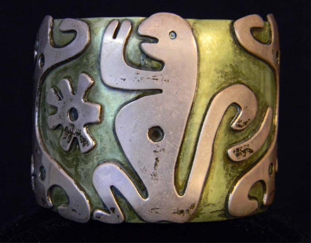 Vintage Taxco Cobre Laton Cuff Bracelet