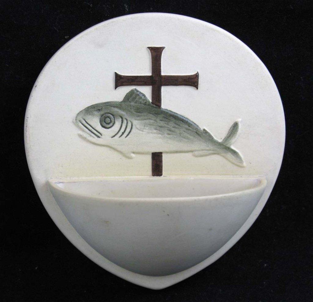 Doulton Prinknash Ceramic Holy-Water Stoup or Font