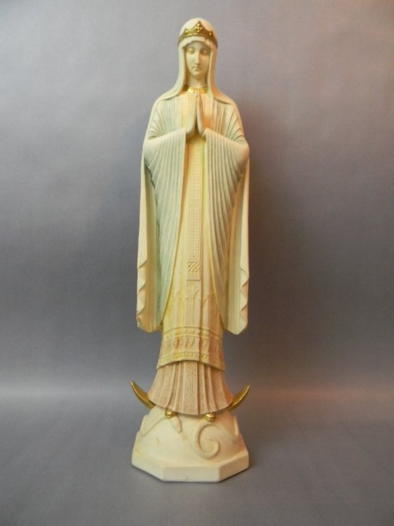 Art Nouveau German Ceramic Gilded Madonna