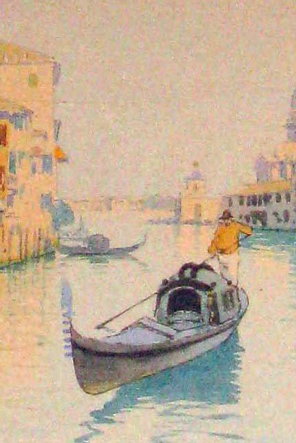Camillo Bortoluzzi Venetian Gondolier Watercolor
